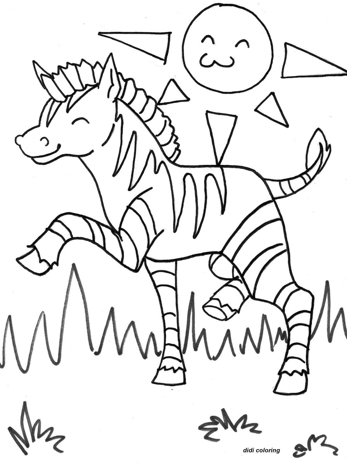 1200x1600 Printable Exited Zebra Horse Grazing In Sunny Weather Coloring
