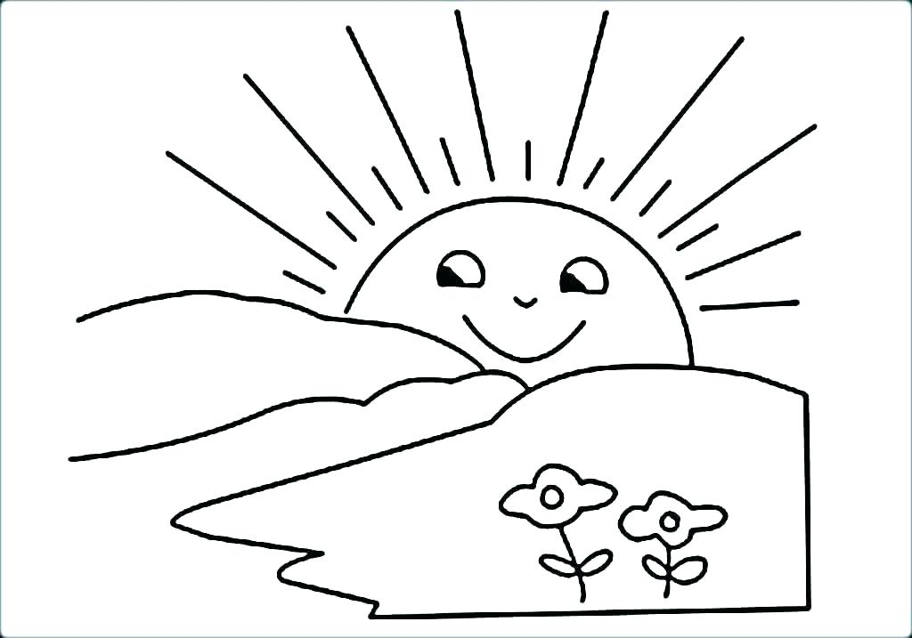 1024x717 Sun Coloring Pages The Sun Is Shy And Hide Behind The Clouds