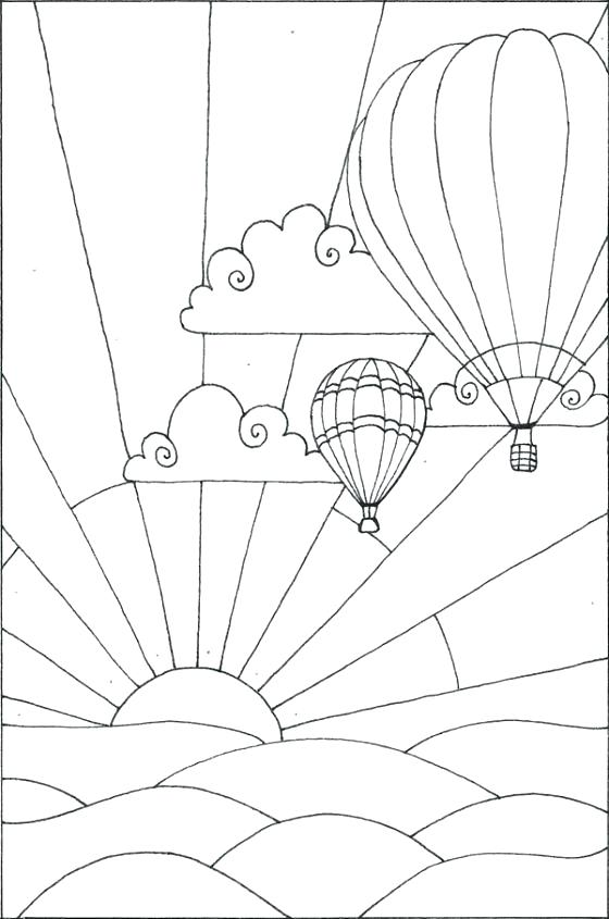 560x845 Sunset Coloring Pages Hot Air Balloon Coloring Sheet Hot Air