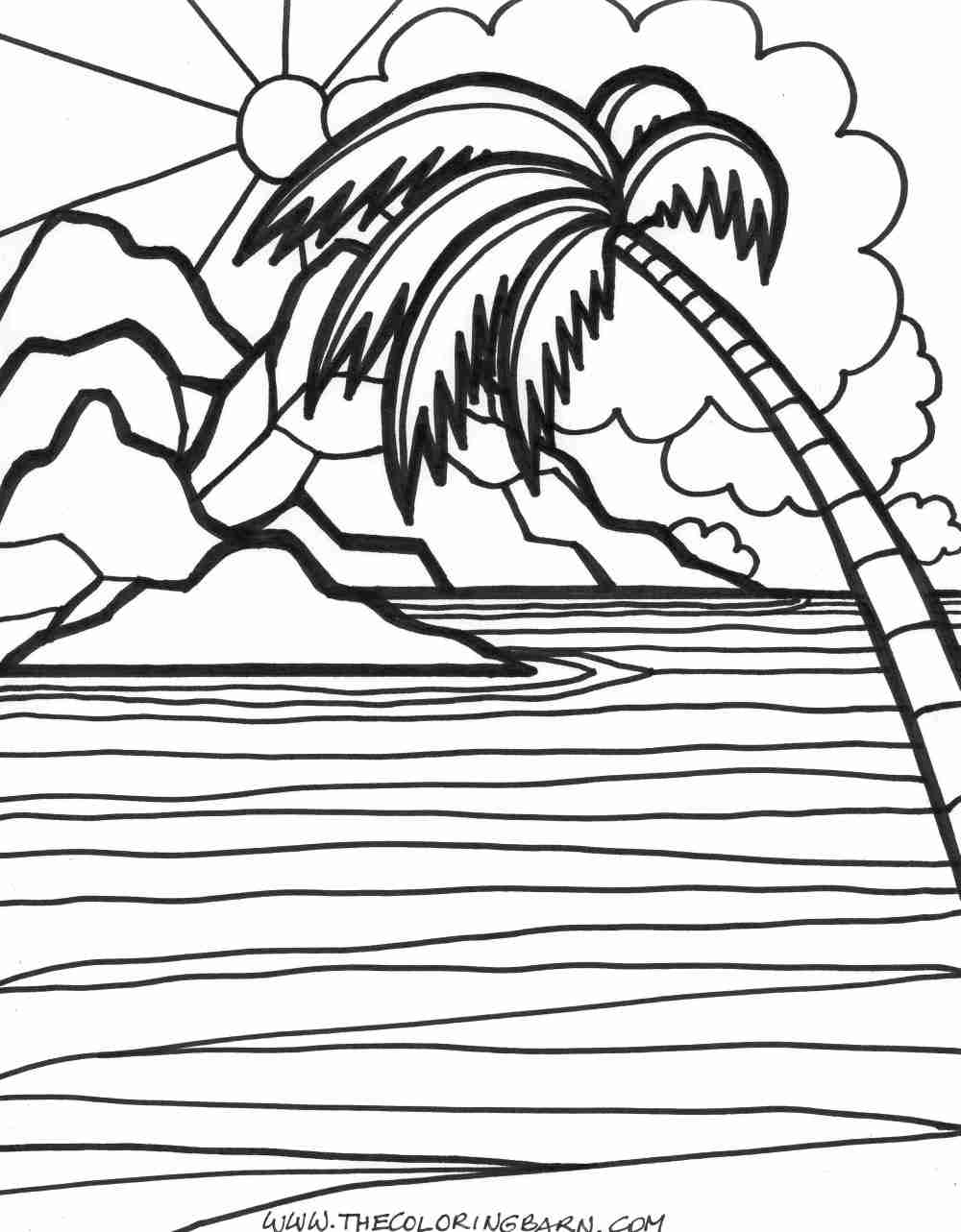 1000x1283 Sunset Sun Coloring Page Free Printable Pages Showy Col