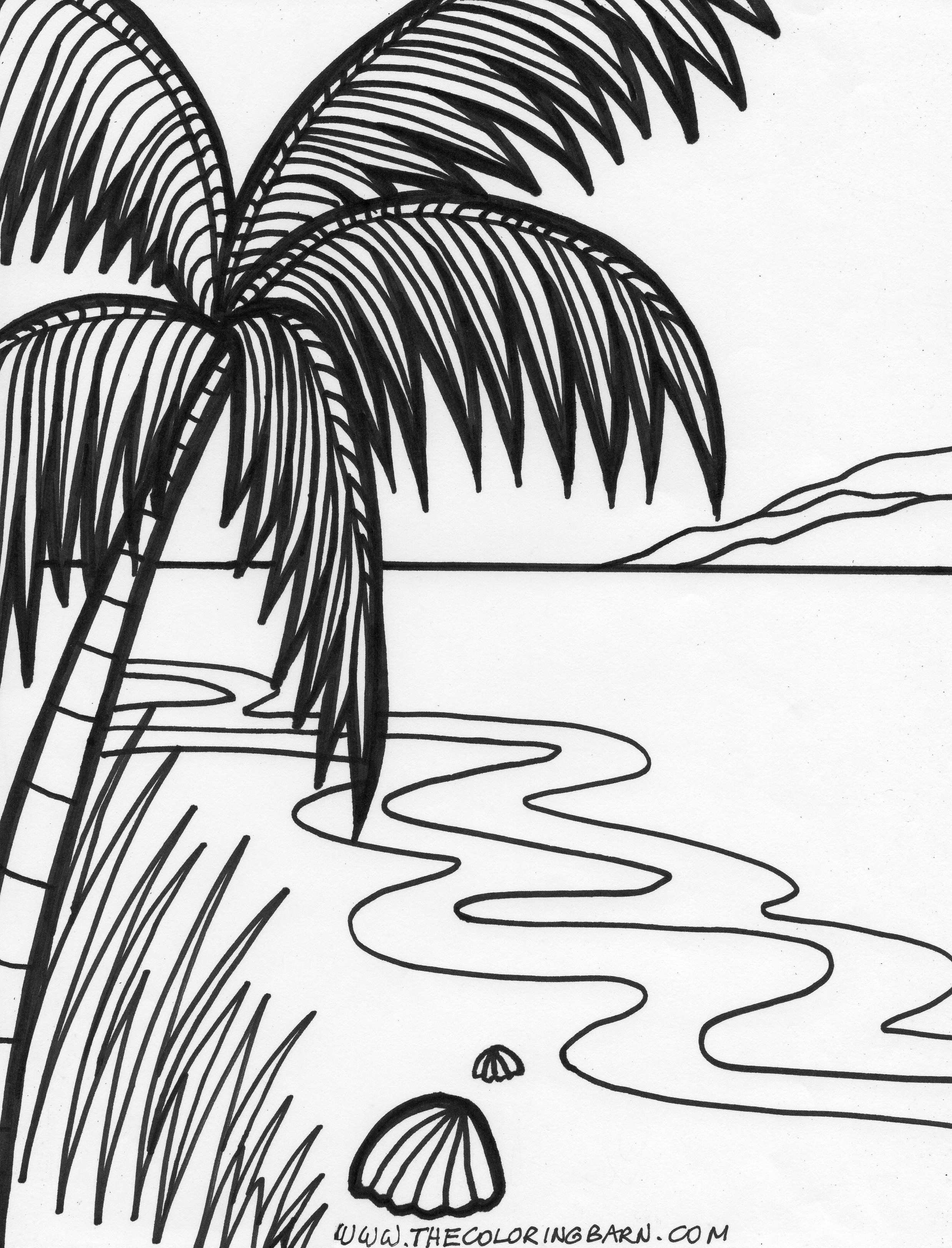 2477x3245 Island Sunset Printable Coloring Pages For Kids Birthday Party