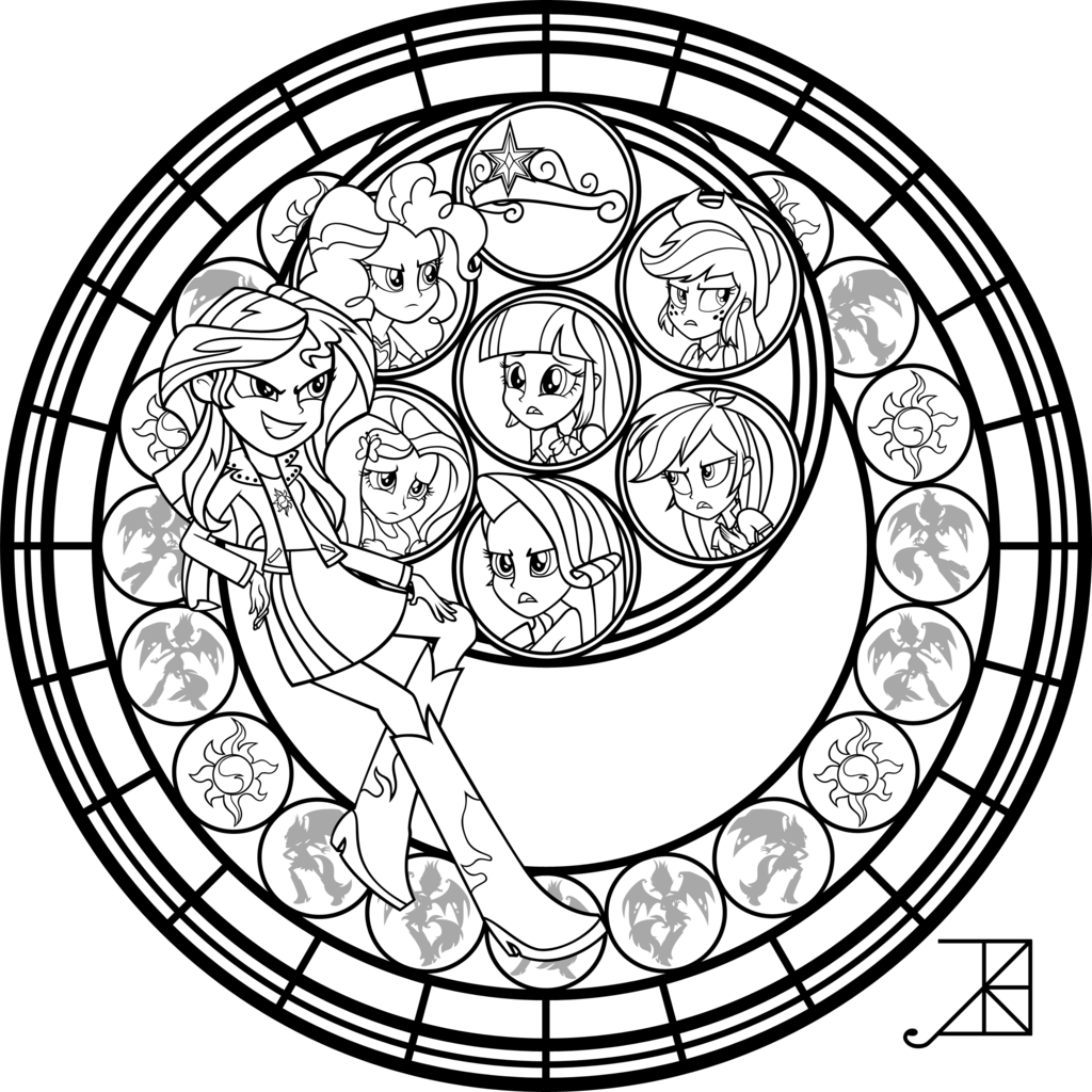 1024x1024 Sunset Shimmer Stained Glass Coloring Page