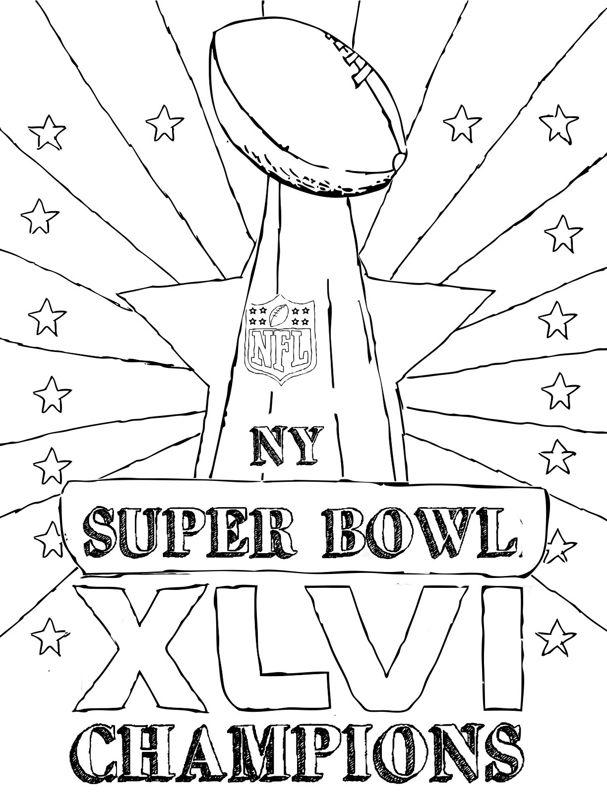 1224x1616 Super Bowl Trophy Coloring Pages