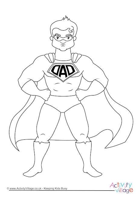 460x650 Superdad Colouring Page