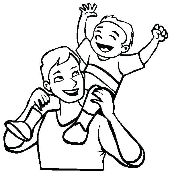 600x612 Dad Coloring Page Dad Coloring Pages Child Piggyback On Back I