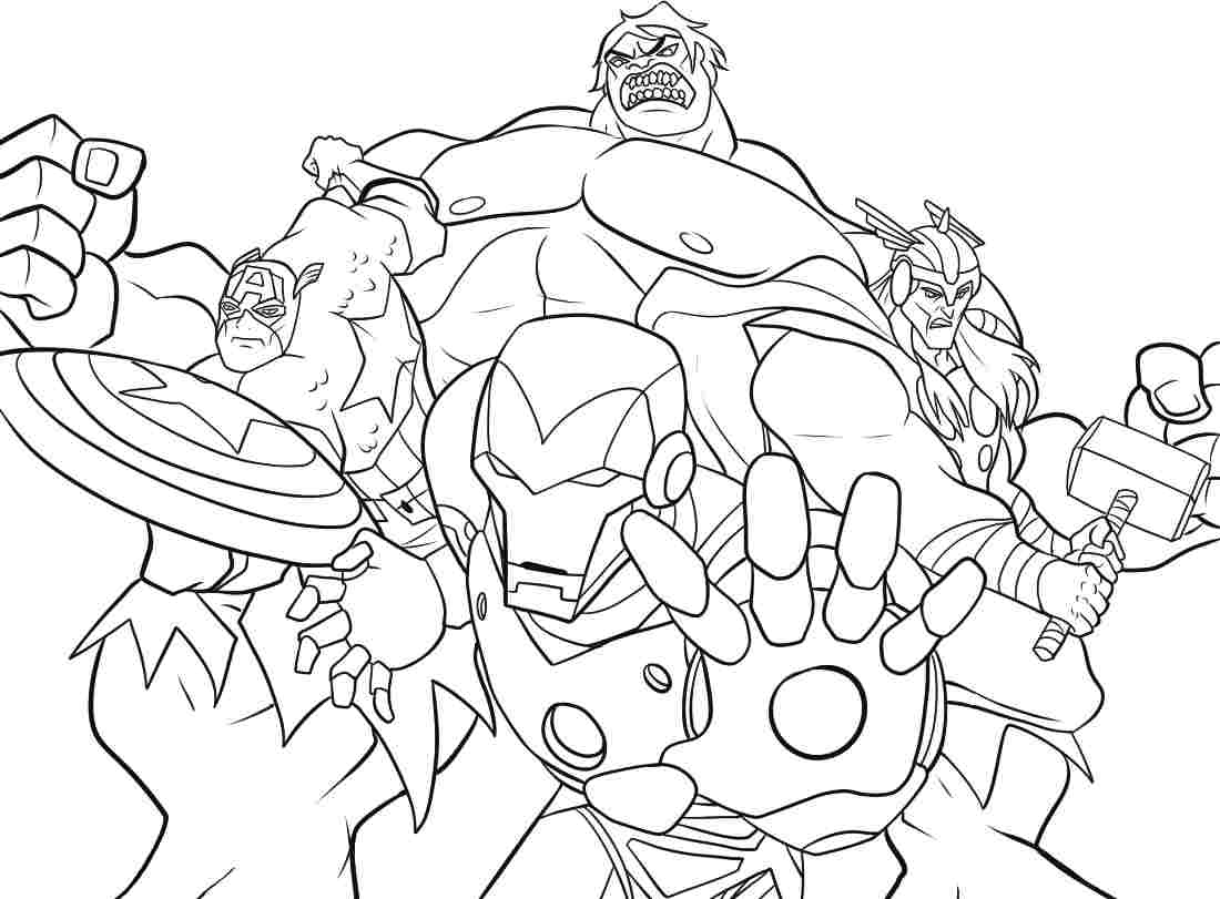 1100x811 Good Marvel Super Hero Coloring Pages With Squad Within Super Hero