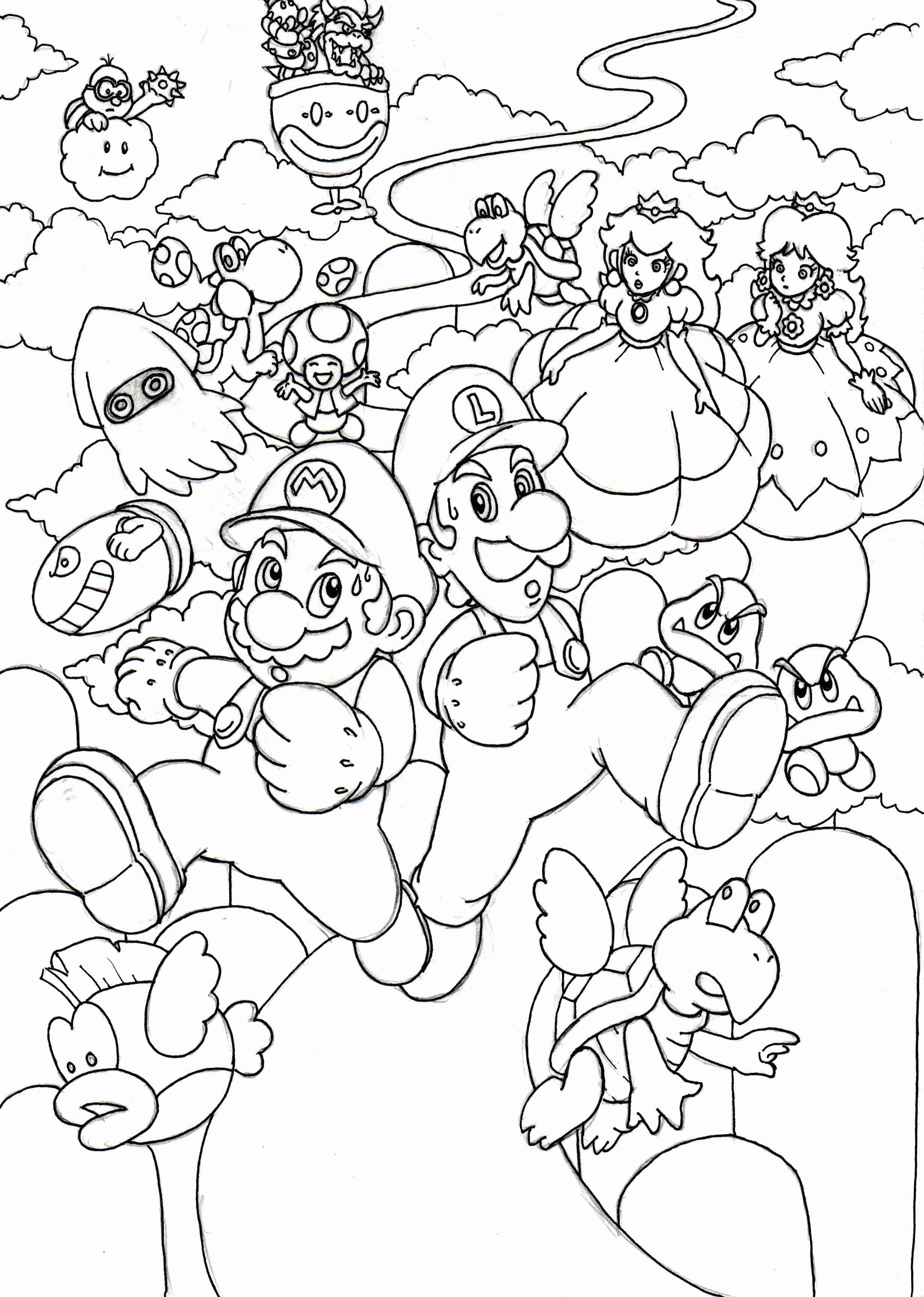 2459x3450 Super Mario World Coloring Pages Olegratiy