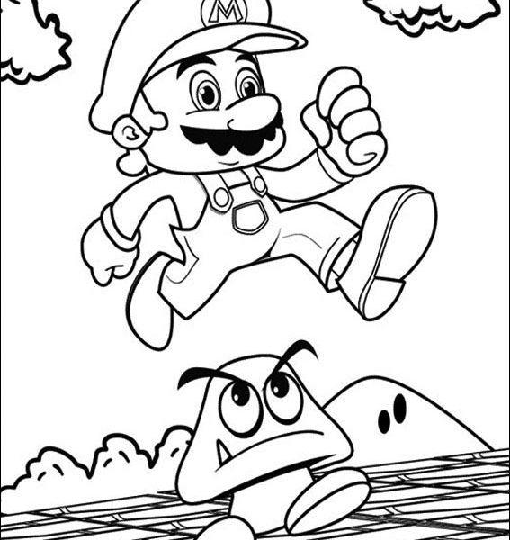567x600 Mario Bros Printable Coloring Pages Super Mario Bros Coloring