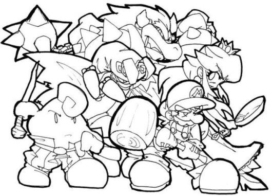 Super Mario Bros Wii Coloring Pages