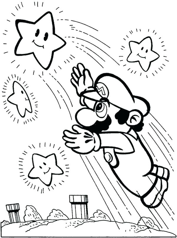 600x806 Mario Color Pages Super Coloring Pages Brothers Reach The Stars