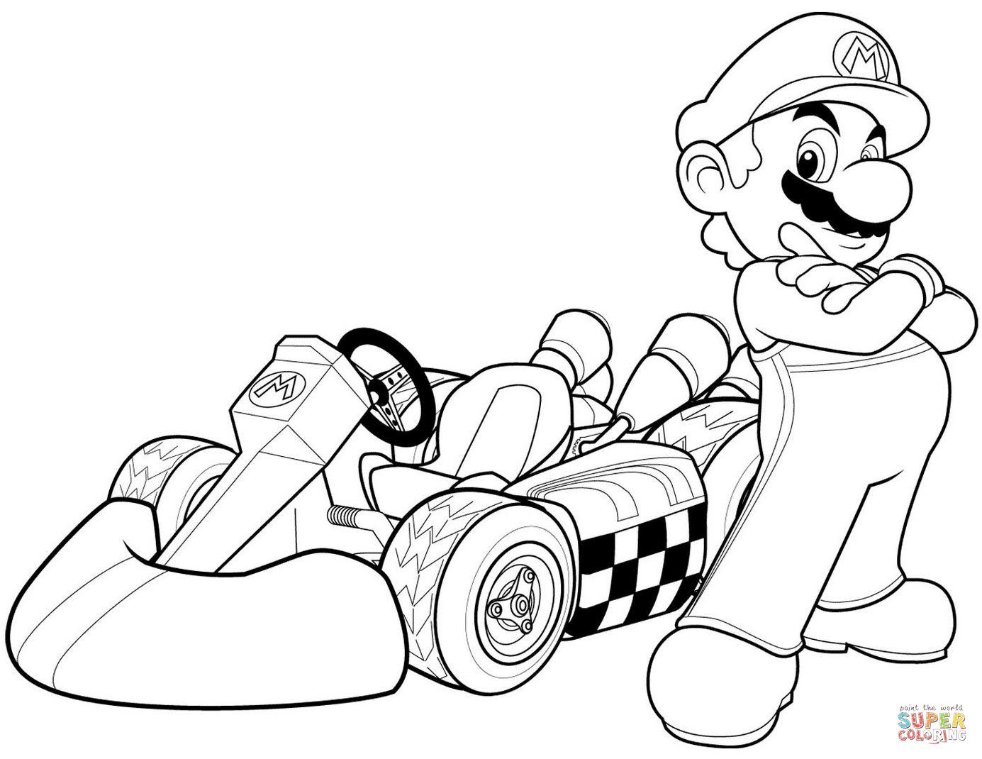 1385x1070 Mario In Mario Kart Wii Coloring Page For Super Mario Coloring
