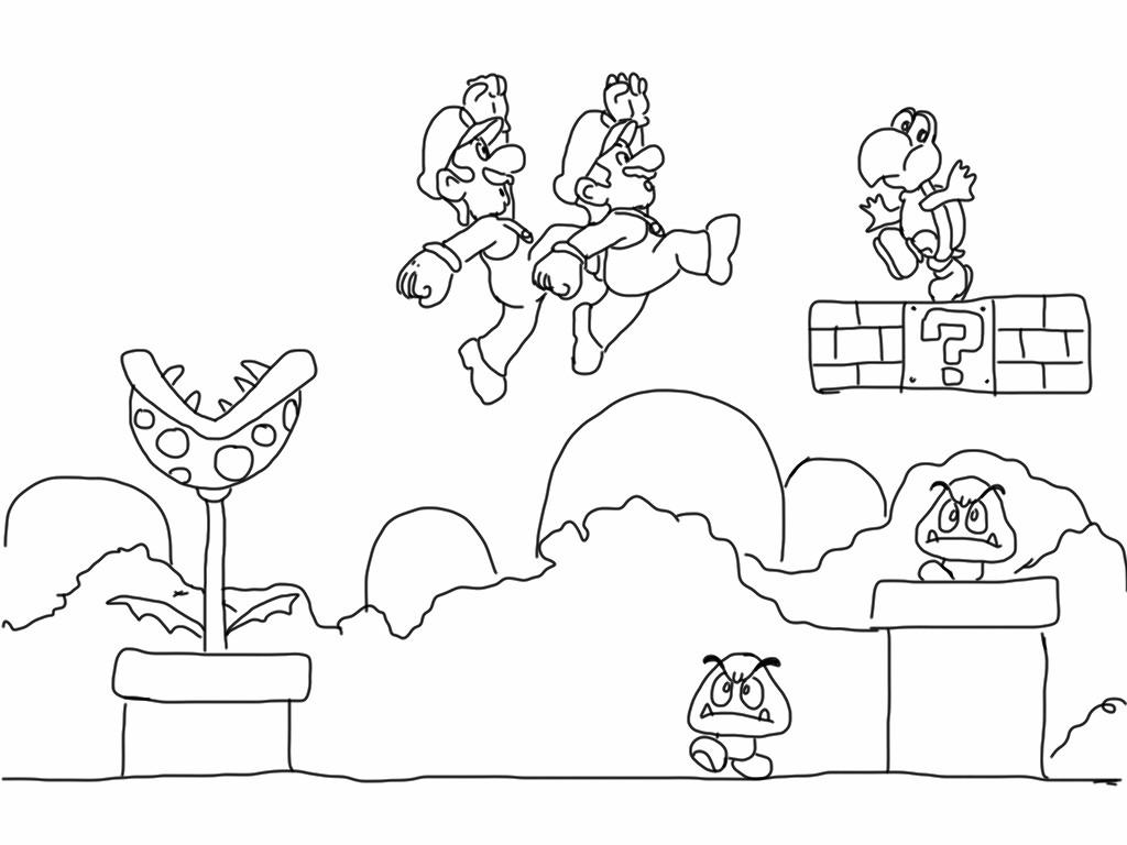 1024x768 Super Mario Bros Wii U Coloring Pages