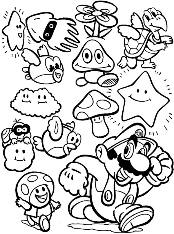 600x804 Super Mario Brothers All Characters Coloring Page Color Luna