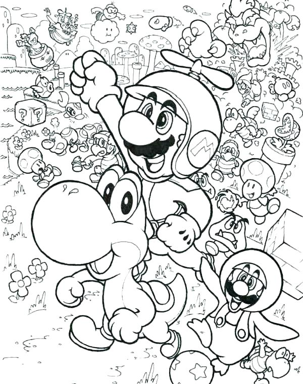 600x760 Mario Bro Coloring Pages Bros Coloring And Fly With Little Dragon