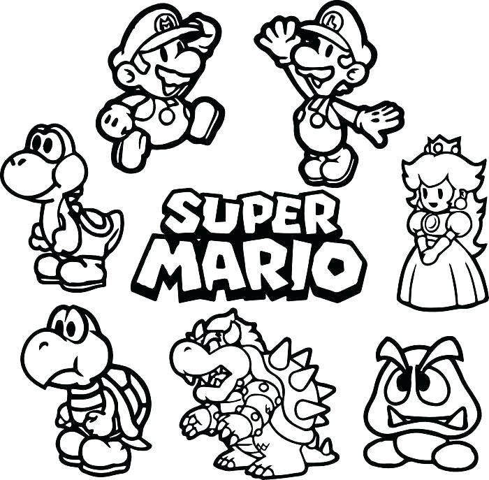 Super Mario Characters Coloring Pages At Getdrawings Com