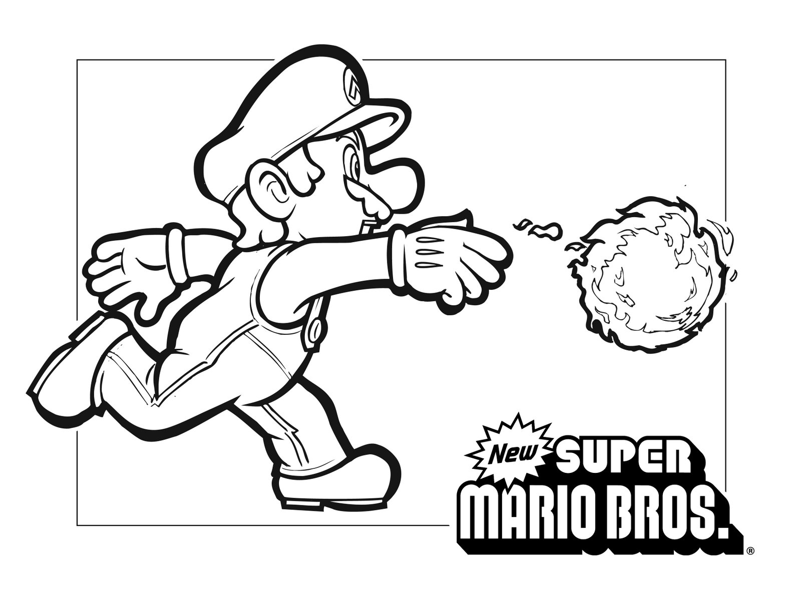 1600x1181 Fire Mario Coloring Pages