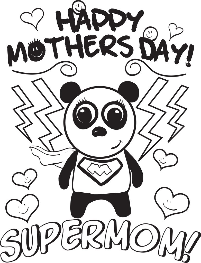 782x1024 Free, Printable Supermom Mother's Day Coloring Page For Kids