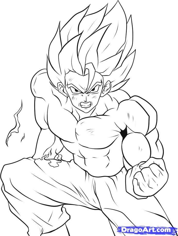 691x916 Goku Super Saiyan Coloring Pages Images Isaiah Birthday