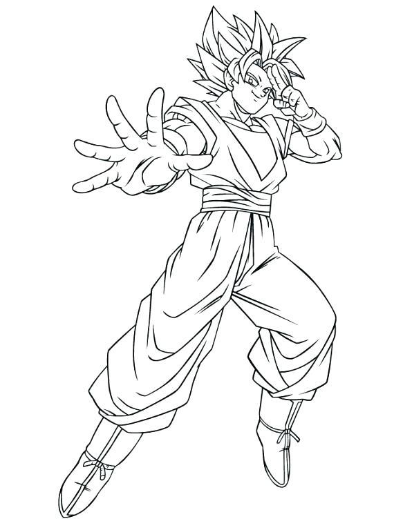 583x755 Dragon Ball Z Coloring Pages Goku Super Saiyan Coloring Sheets