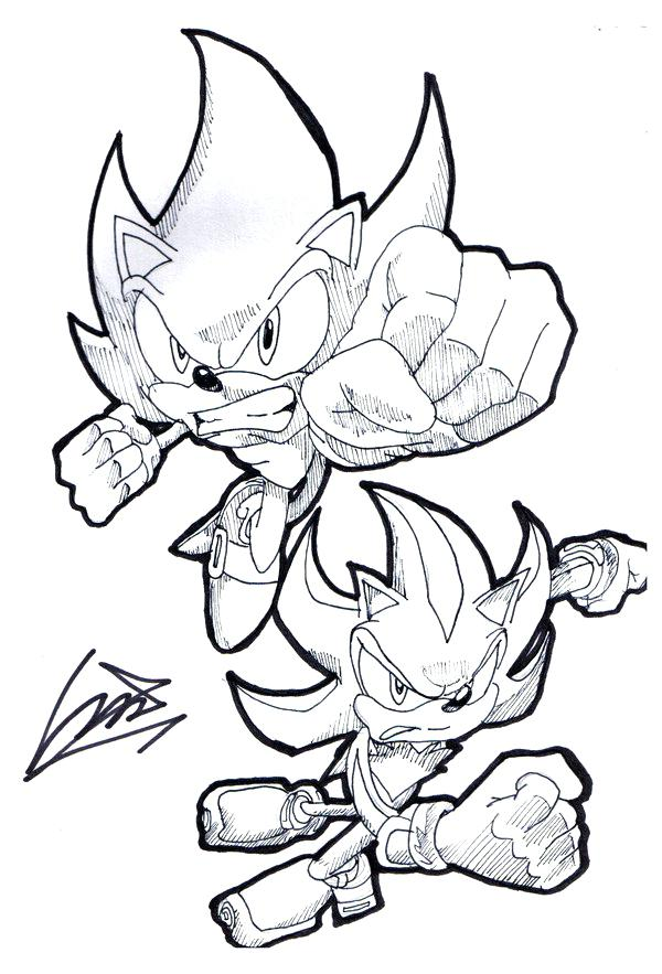 600x883 Super Sonic Coloring Pages Super Sonic And Super Shadow Coloring
