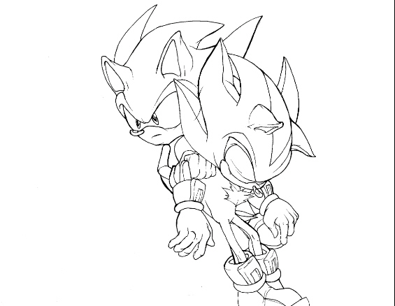 Super Sonic And Super Shadow Coloring Pages