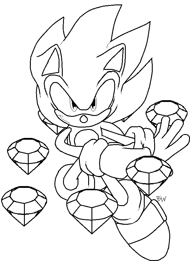 642x878 Super Sonic Coloring Pages