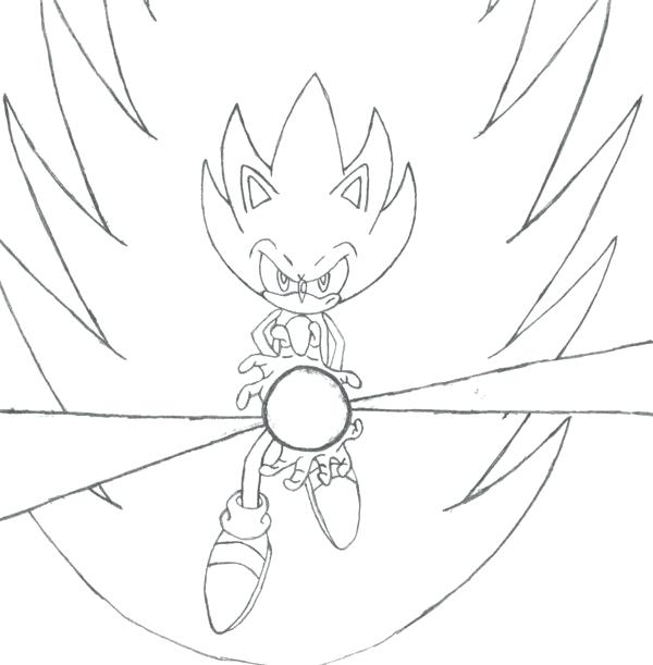 600x611 Coloriage Sonic The Hedgehog Super Sonic Kamehameha