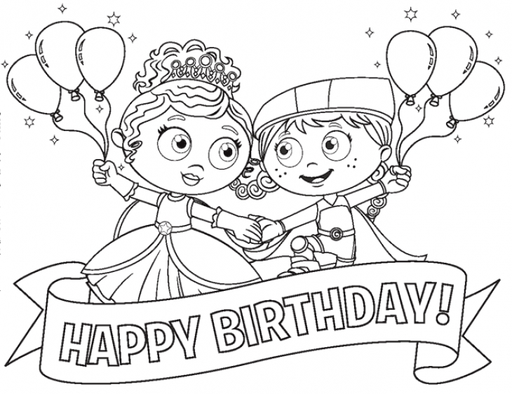 730x562 Princess Pea And Red In Super Why Happy Birthday Coloring Page