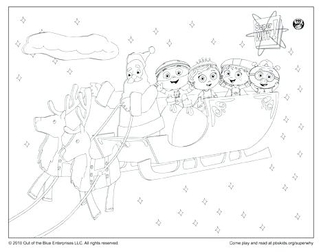 467x366 Super Why Coloring Page Sleigh Ride With Happy Holidays Super