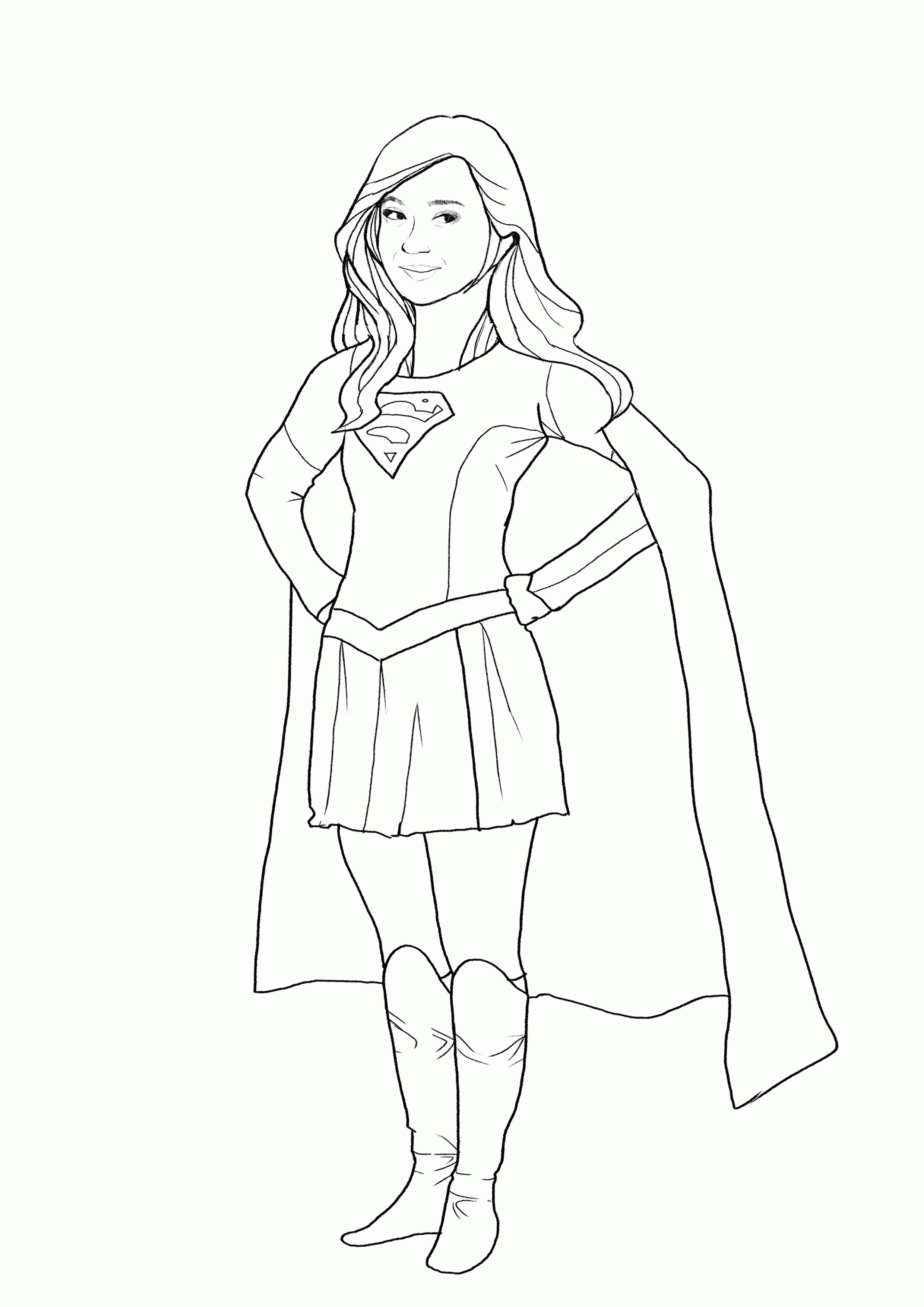 2480x3508 Shocking Supergirl Coloring Pages Image For Inspiration