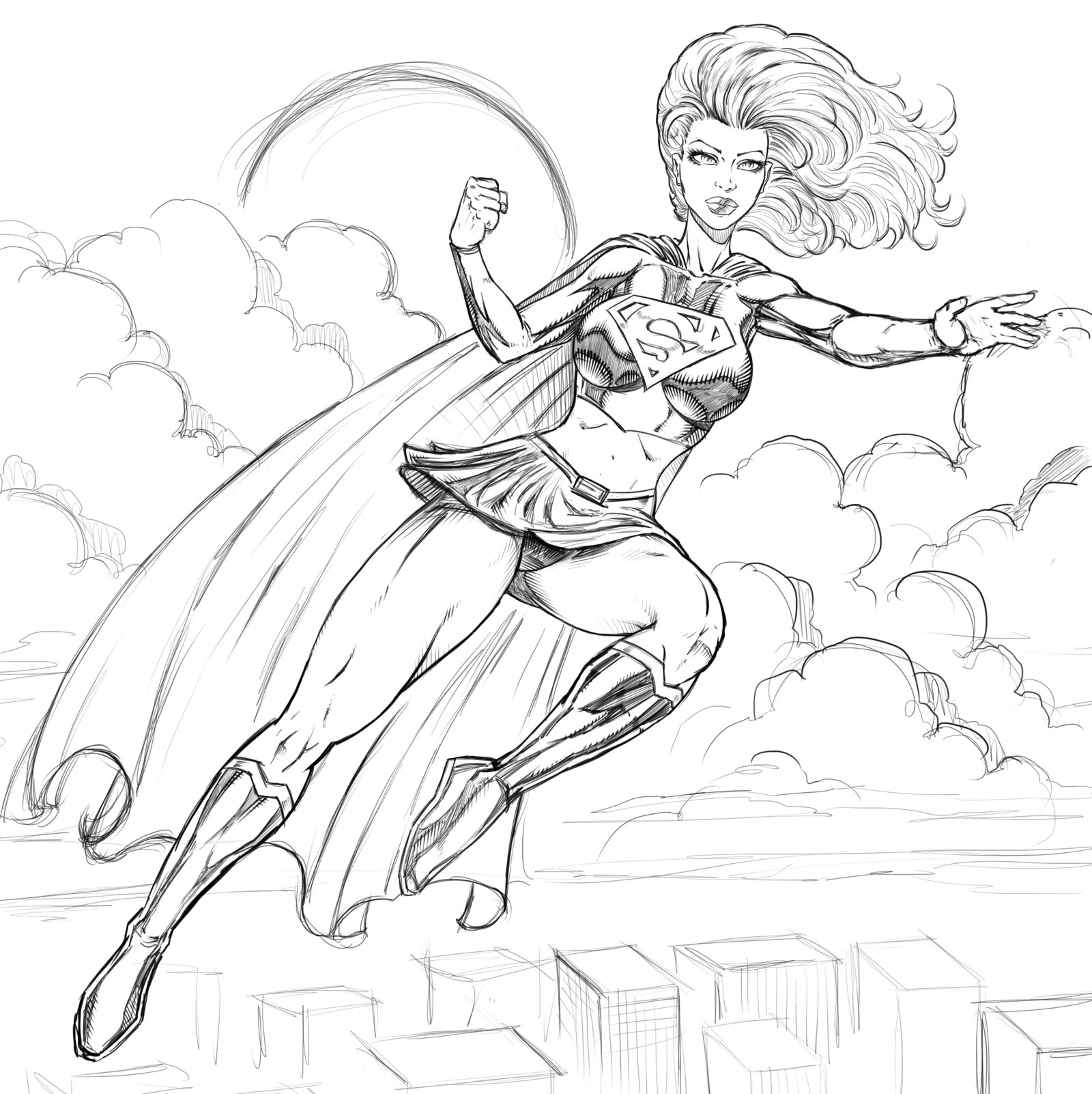 1600x1602 Supergirl Is Flying Free Coloring Page Kids, Superheros Coloring