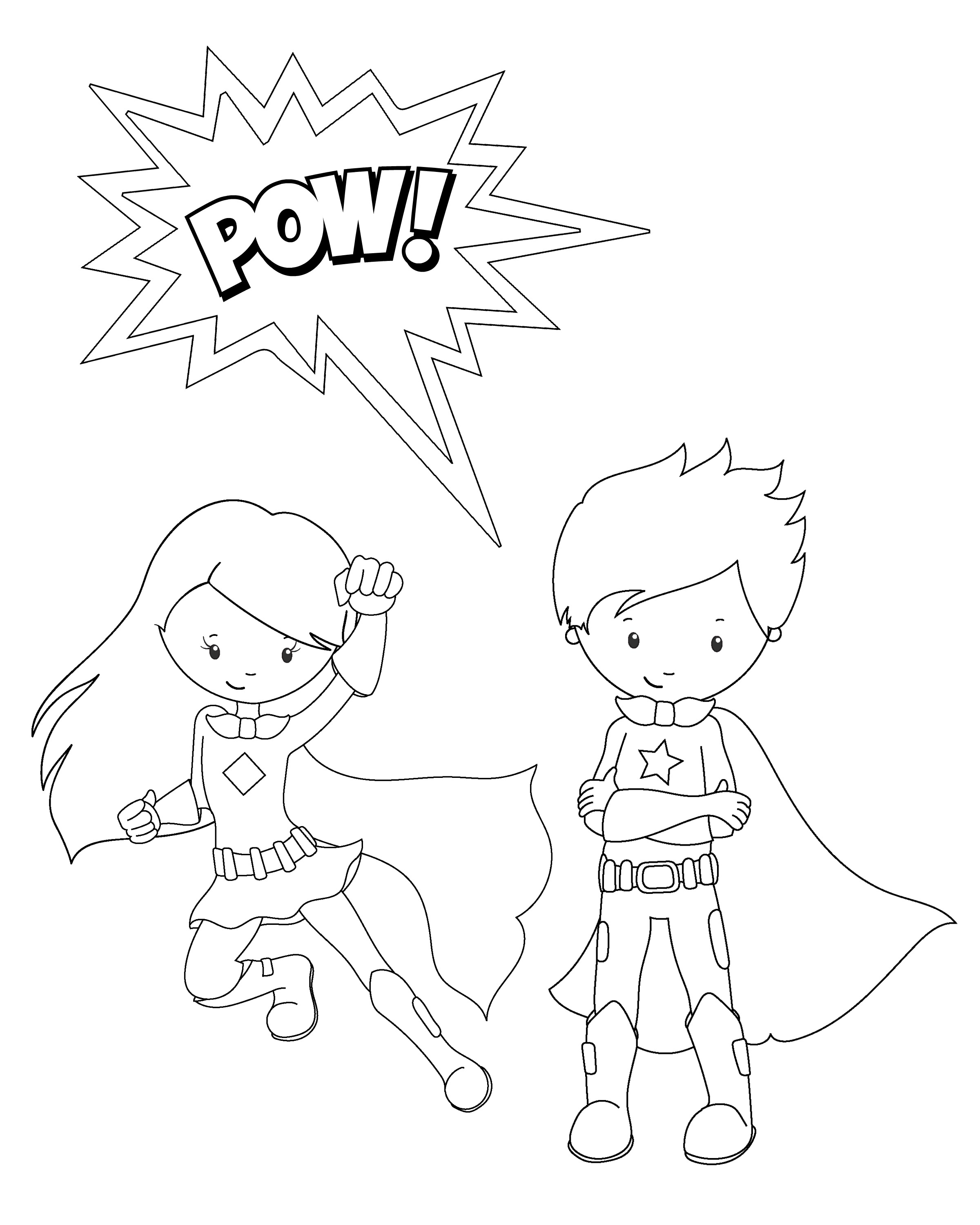 2400x3000 Boy And Girl Superhero Free Coloring Page Kids, Superheros