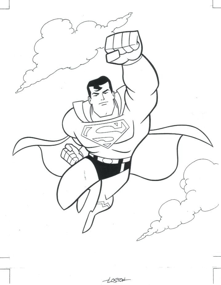 718x923 Amazing Free Superman Cartoon Coloring Books For Kids Printable
