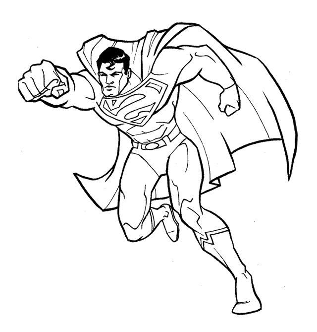 640x669 Fantastic Superman Coloring Page Superman Cartoon