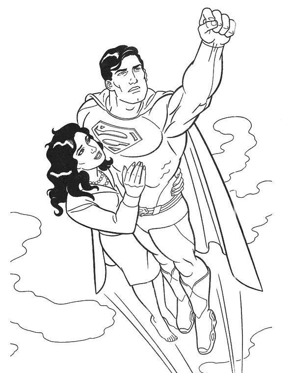 595x760 Superman Fly With Girl Coloring Page Art Coloring Pages