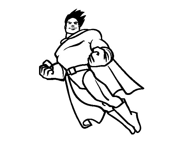 600x470 Superman Flying Coloring Page