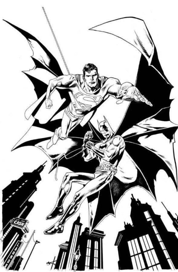 588x900 Batman Superman Flying Coloring Pages