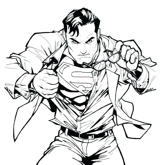 687x683 Superman Coloring Page
