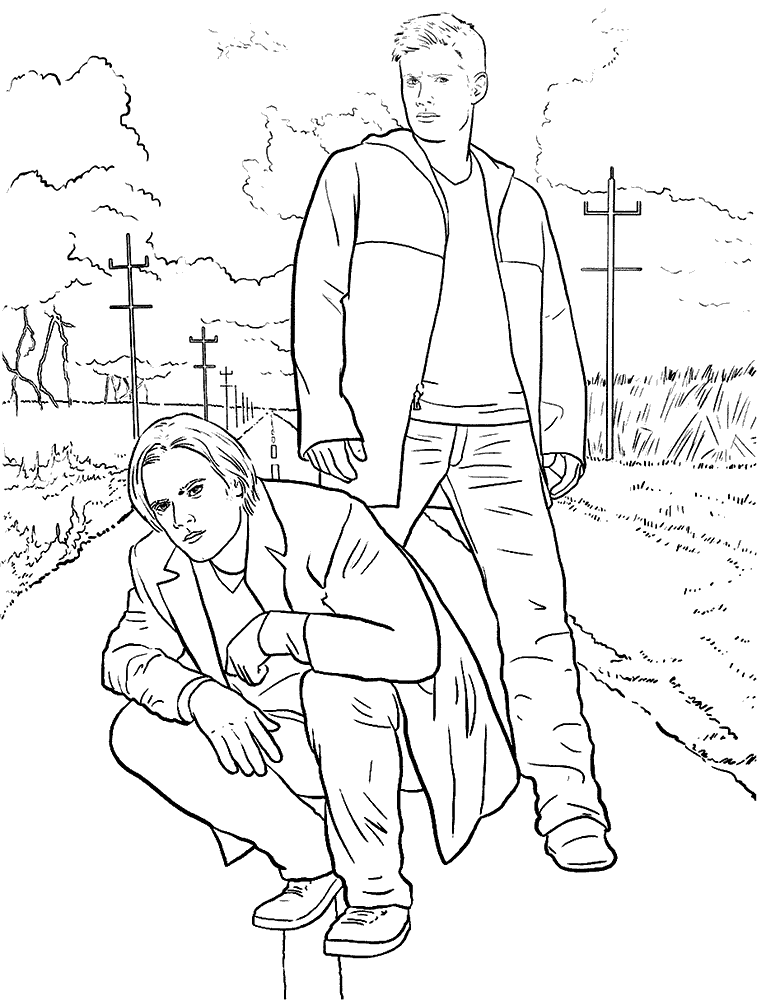 758x1000 Supernatural Coloring Page Dean And Sam