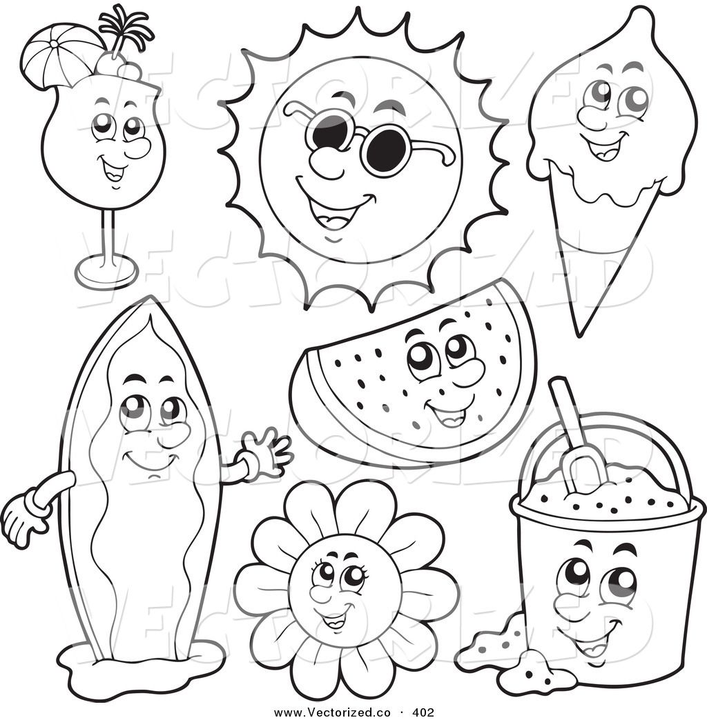 1024x1044 Surfboard Coloring Vector Of A Group Of Coloring Page Outlines