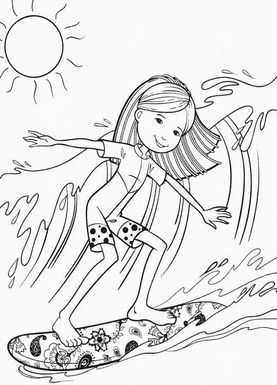 541x751 Groovy Girl Surfing Coloring Pages Surf! Summer
