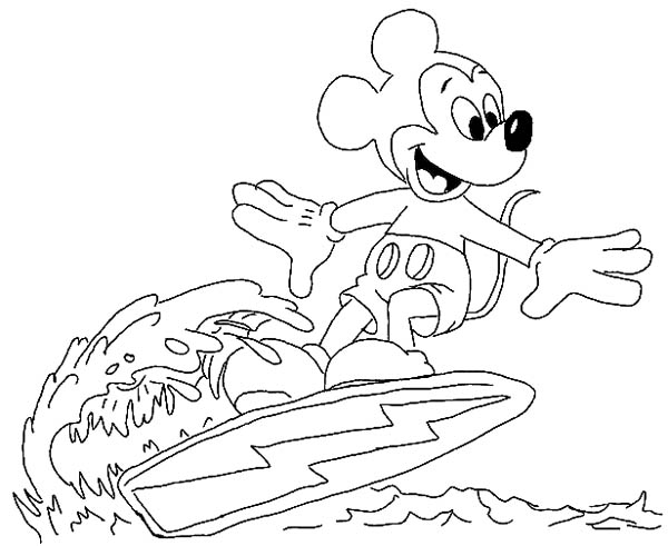 600x491 Mickey Mouse Surfing On The Wave Coloring Page Color Luna
