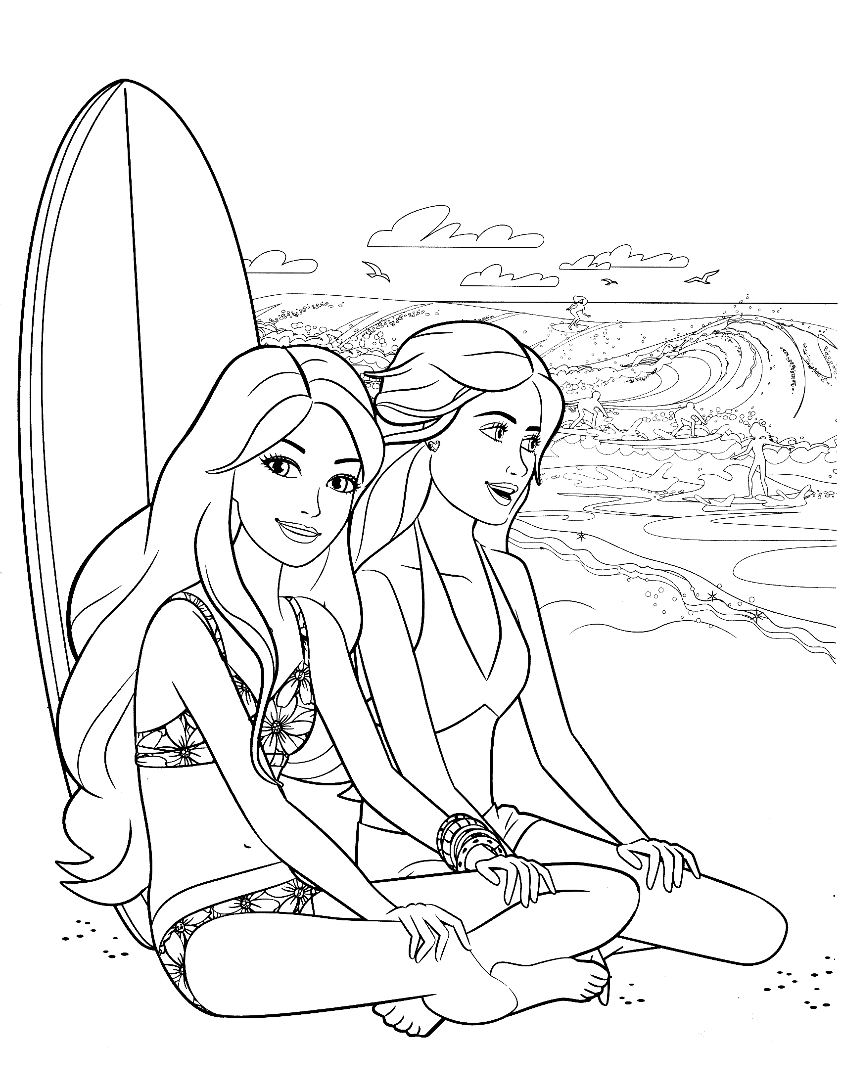 1700x2200 New Surfing Coloring Pages Printable Boy Surfer Page Free