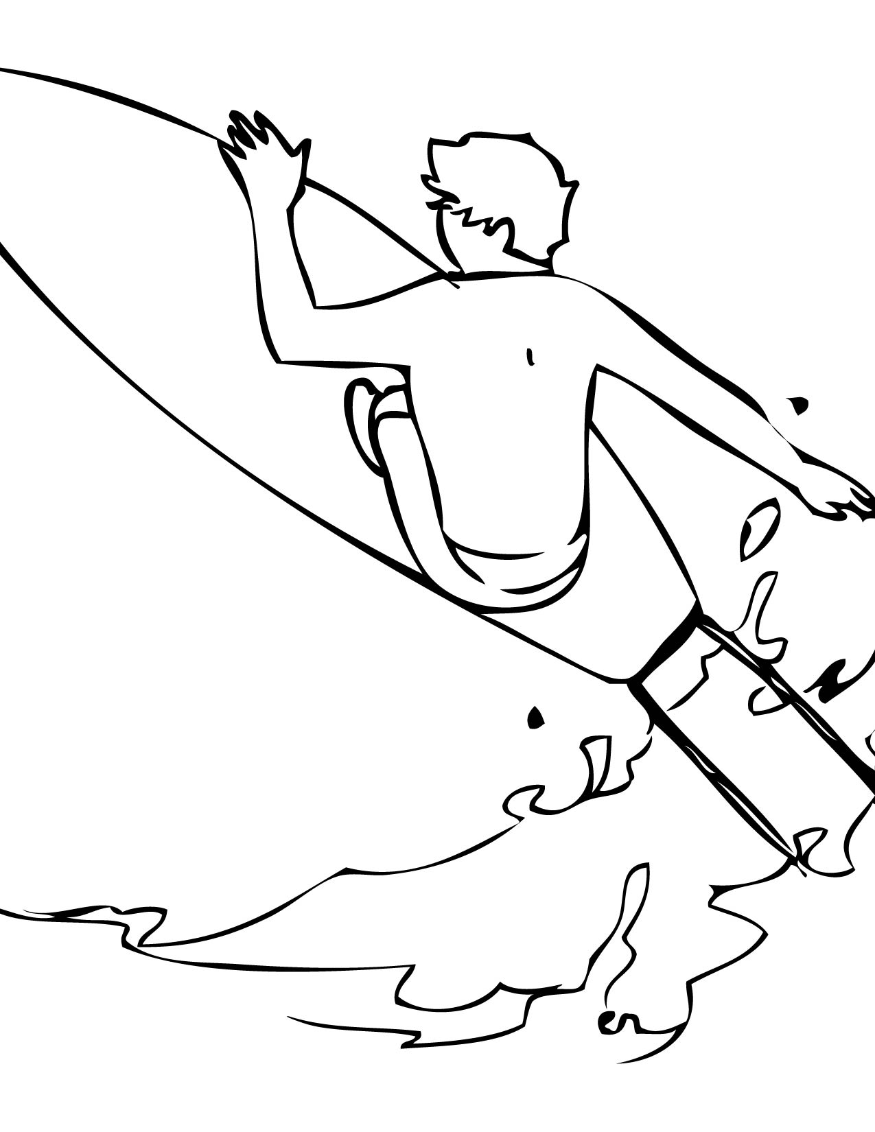 1275x1650 Surfing Coloring Page