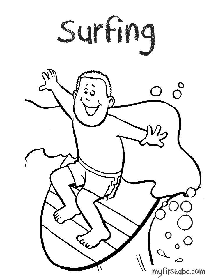 718x958 Surfing Coloring Page