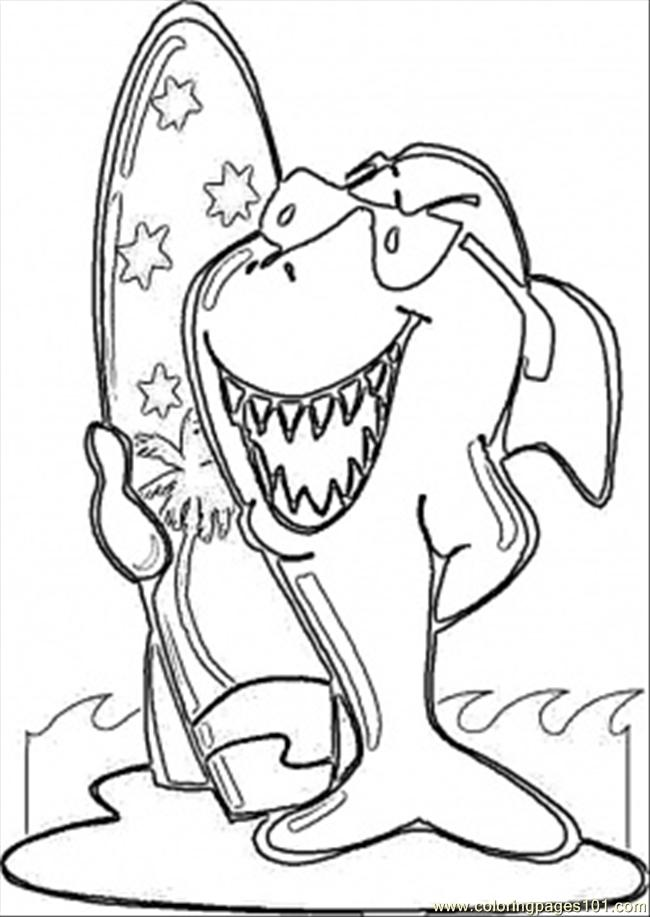 650x917 Surfing Shark Coloring Page