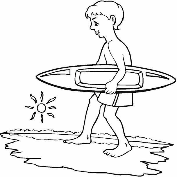 609x609 Surfing Boy Coloring Page