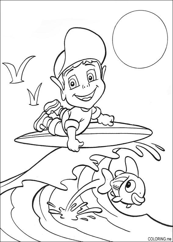 567x794 Coloring Page Adiboo Surfing