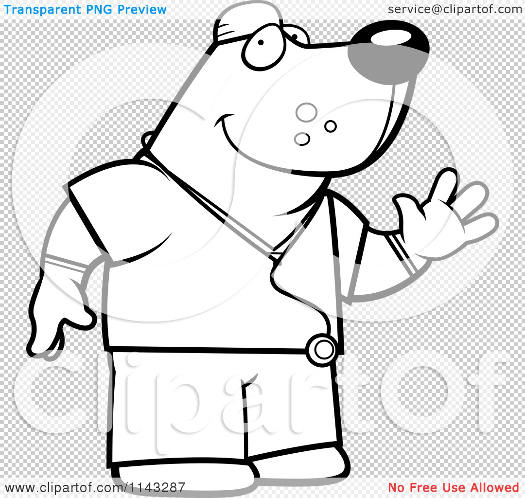 1080x1024 Cartoon Clipart Of A Black And White Bear Surgeon Doctor In Scrubs