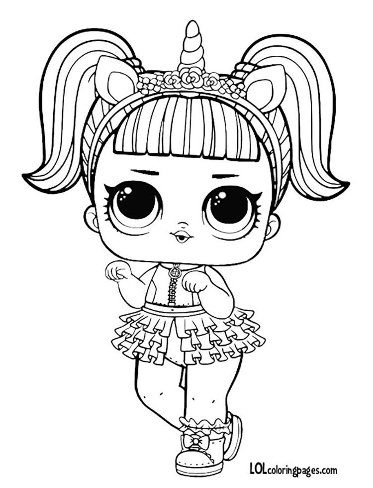 750x980 Unicorn L O L Surprise Doll Coloring Page Lol Surprise Doll